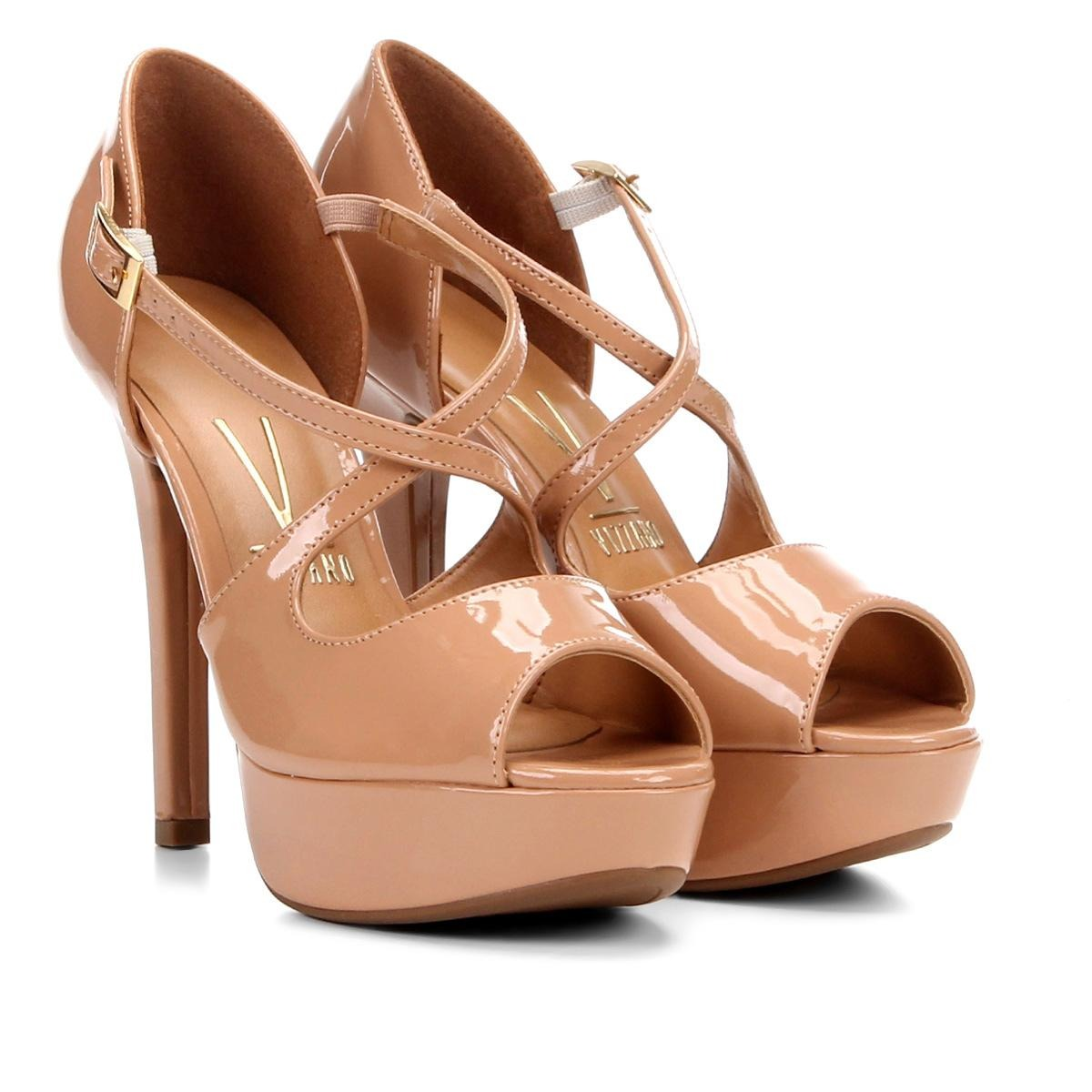 3e09c7695d sandália meia pata em verniz vizzano salto alto feminina. Carregando zoom.