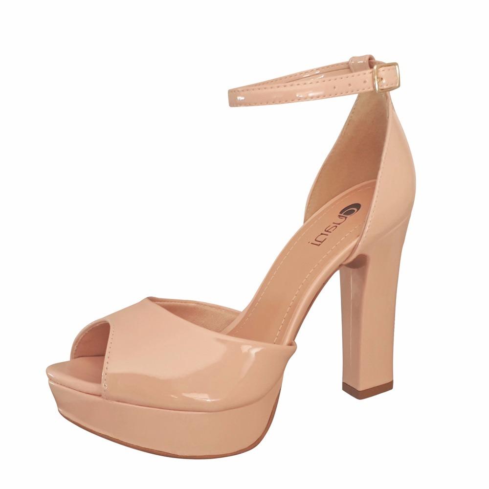 33d633f497 sandalia meia pata nude rosa verniz salto alto grosso. Carregando zoom.