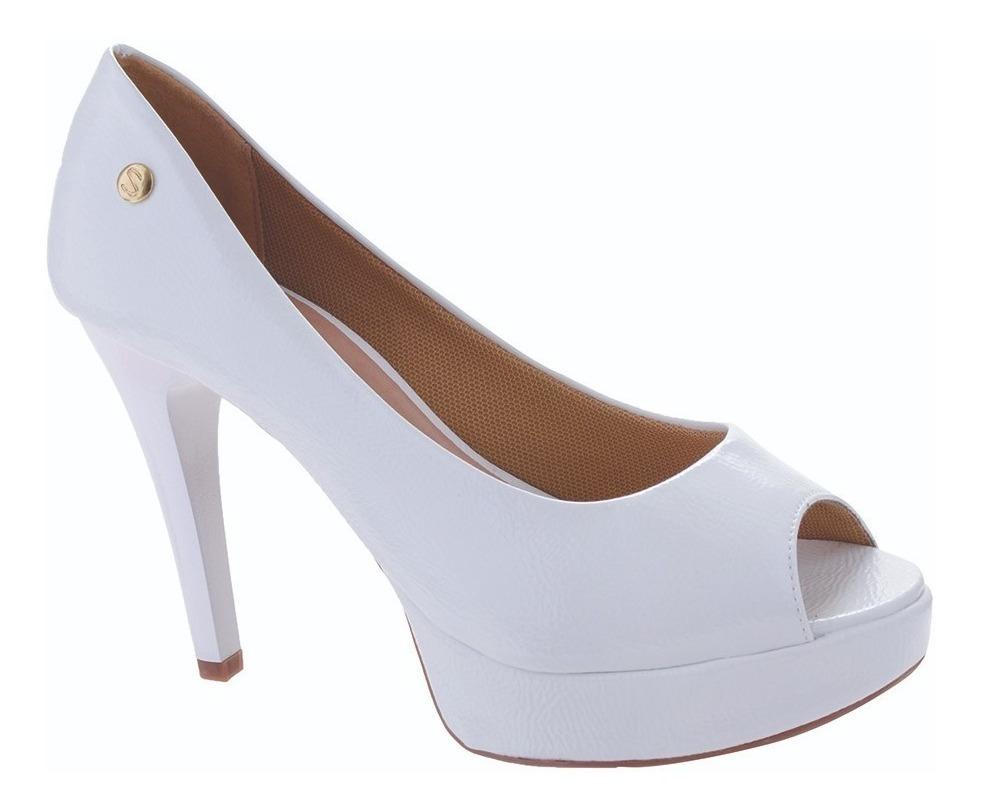9f0129d1f sandália meia pata peep toe salto alto verniz branco. Carregando zoom.
