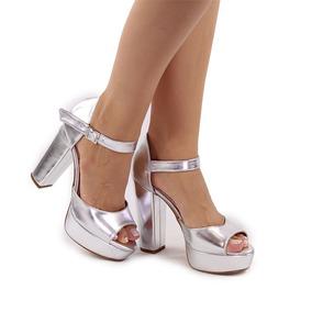 1c2c943783 Sandalia Meia Pata Salto Grosso Prata - Sapatos no Mercado Livre Brasil