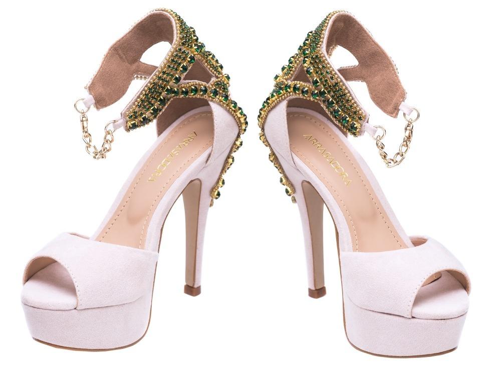 98adefcf7 sandália meia pata salto alto luxo pedrarias casamento festa. Carregando  zoom.