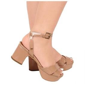c3401a65b223e Sapato Salto Grosso Baixo Meia Pata - Sandálias e Chinelos Femininas ...
