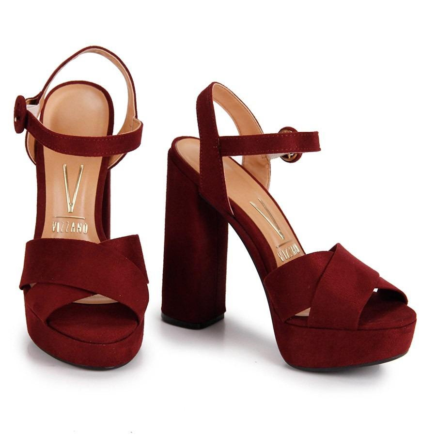 1d14458b02 sandália meia pata vizzano camurça vinho tiras cruzadas. Carregando zoom.