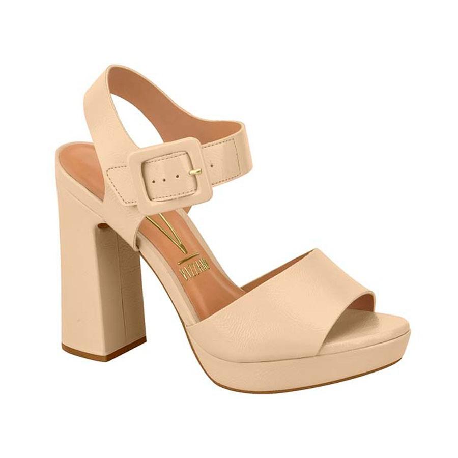 148103cc23 sandália meia pata vizzano feminina fivela verniz bege. Carregando zoom.