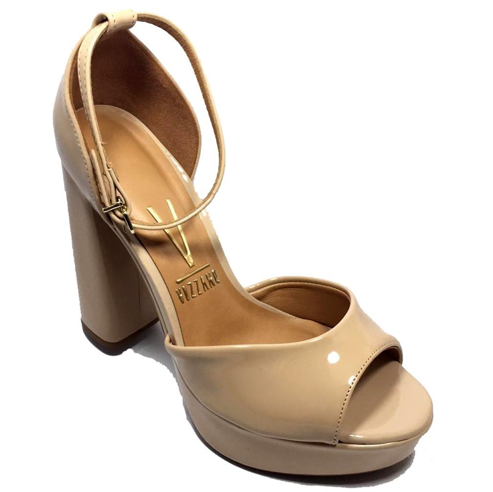 36acf4761c sandália meia pata vizzano salto grosso verniz - bege. Carregando zoom.