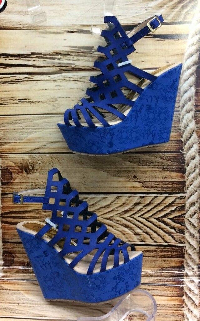 Sandalia moda plataforma mujer dama azul rey fabrica calzado jpg 639x1024  Fabrica de zapatos de mujer e62f1e298155