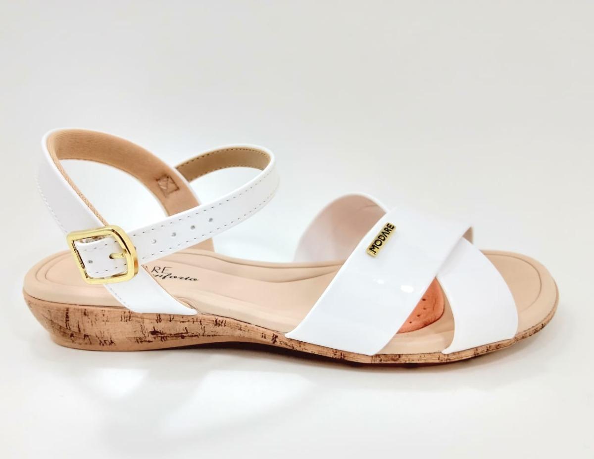 6946a86b2 Sandália Modare Branco/verniz Premium 7127.107 - R$ 140,00 em ...