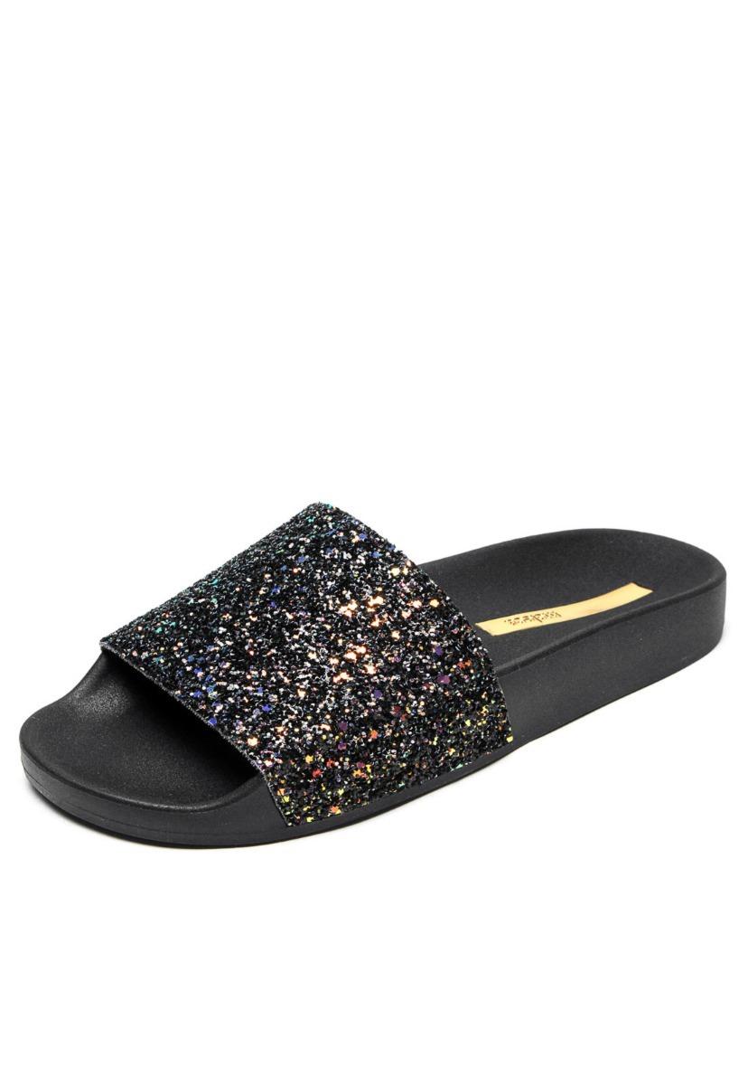 aa73646cc6 sandália moleca slide preta glitter. Carregando zoom.