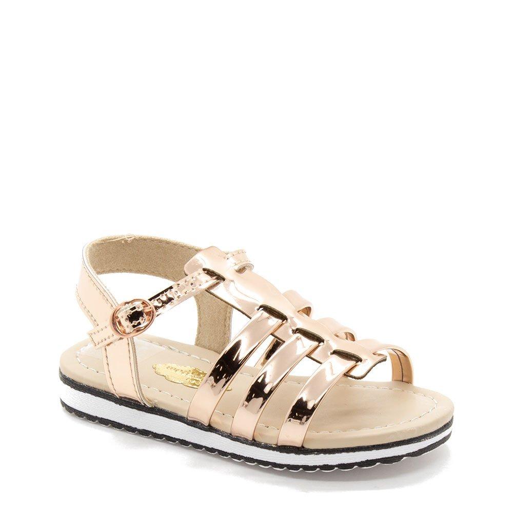 2bcc79d19 sandália molekinha tratorada metalizada ouro rosado. Carregando zoom.