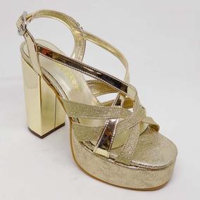 lo último 3ab64 13620 Sandalia Mujer Fiesta Taco Medio Dorado Gliter Zapato Mujer