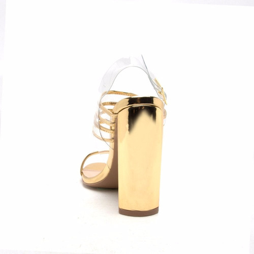 sandalia mujer qupid cinta transparente tacón ancho dorado