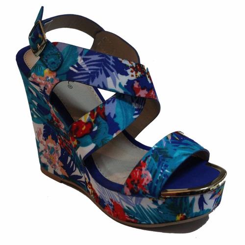 sandalia mujer qupid plataforma colores azul cobalto y negro