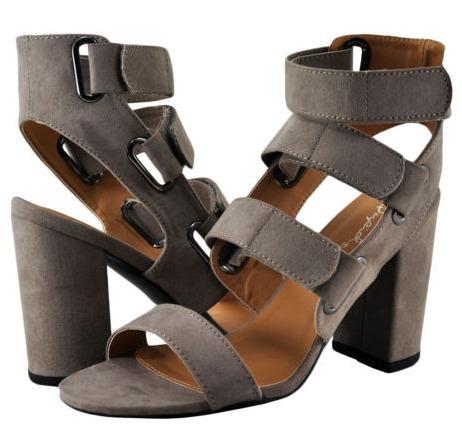 sandalia mujer qupid zapato abierto cintas al frente taupe