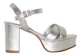 9cm Cuero Sandalia Plataforma Plata Mujer Taco bYf7gyv6