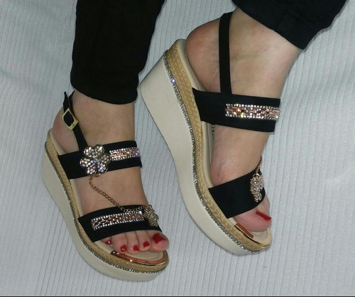 sandalia negra dama moda zapato colombianos envio gratis