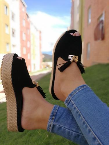 sandalia negra sueca suela yute de moda para mujer hermosa