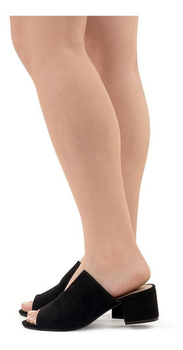 sandalia negra tacón ancho - qupid