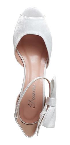 sandalia noiva branca salto baixo medio grosso confortavel