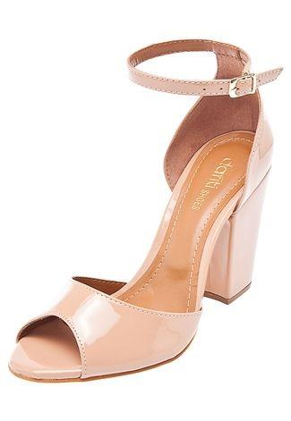 8e6a925ec Sandália Nude Dafiti Shoes Salto Grosso - R  120