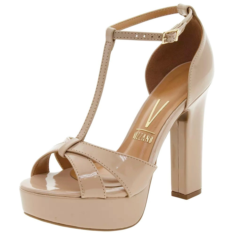 355a490b8 sandalia nude verniz meia pata salto alto grosso vizzano. Carregando zoom.