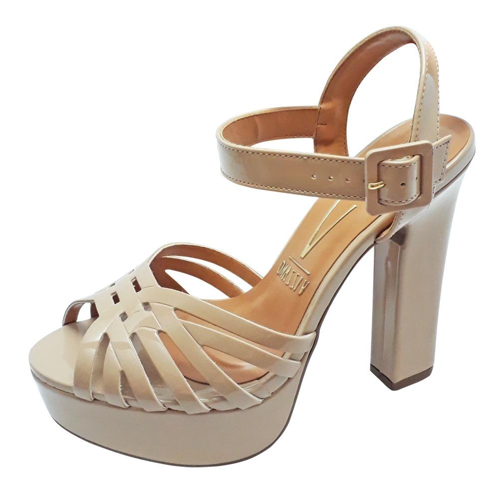 f6a22364e sandalia nude verniz salto alto grosso vizzano meia pata. Carregando zoom.