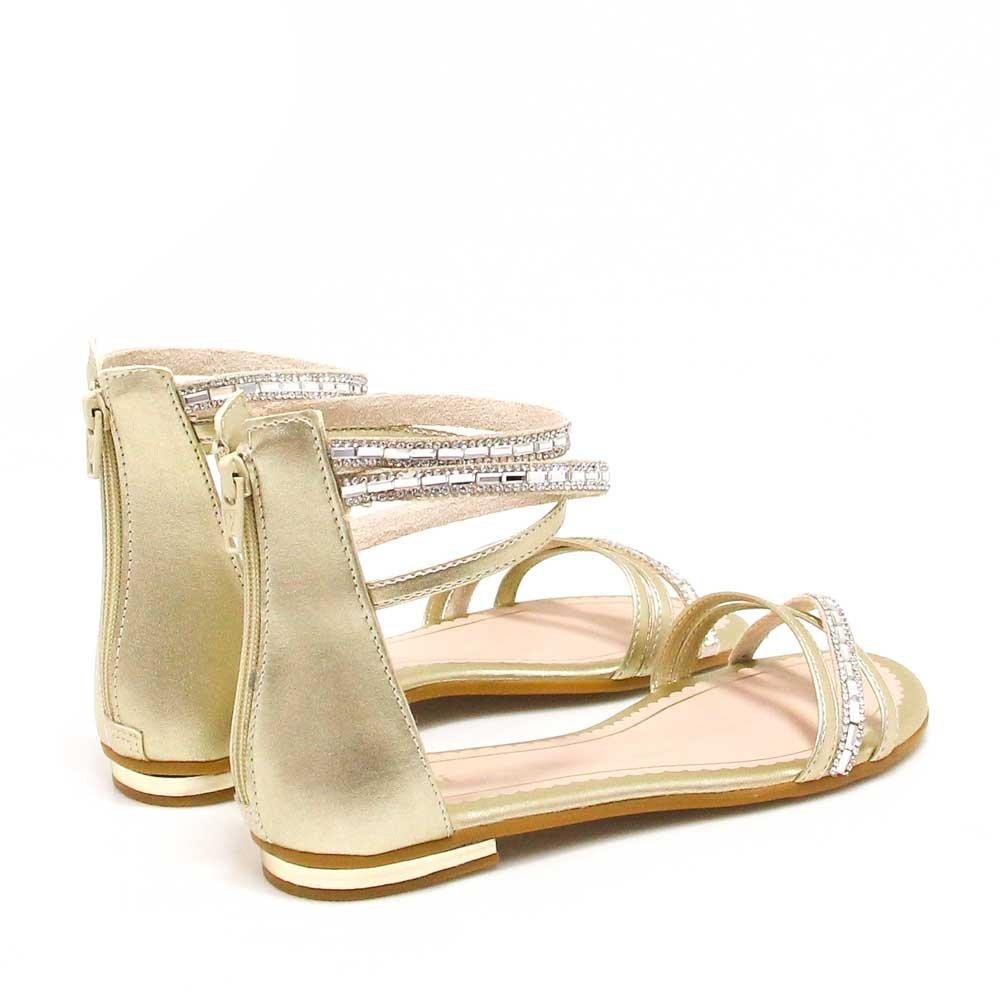 2b6b529ac sandália pampili rasteira metalizada pedras dourado | zariff. Carregando  zoom.