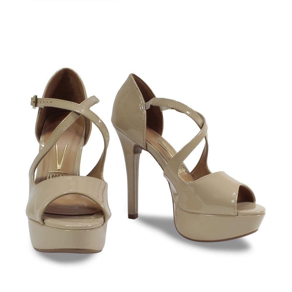 28025b40b sandália peep toe salto fino vizzano nude verniz 1830.415. Carregando zoom.
