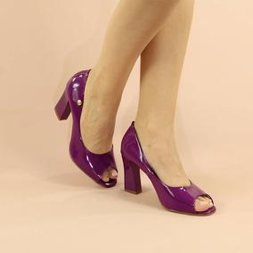 2b9c4659a6 Peep Toe Roxo - Sapatos no Mercado Livre Brasil
