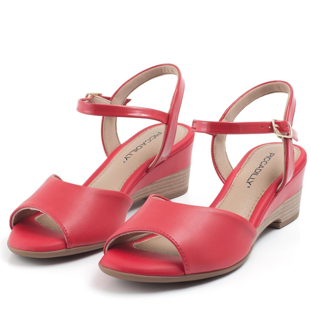 c5c423f100 sandália piccadilly anabela com detalhe no salto 581006. Carregando zoom.