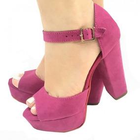 6ba1878a61 Sandalia Rosa Fucsia Salto Alto Feminino - Sapatos no Mercado Livre Brasil