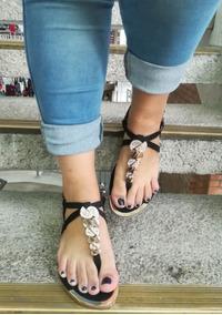 De Moda Negra Plana Rajadedo Chicas Sandalia Mujeres Jovenes 3A5R4jL