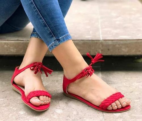 sandalia plana roja de amarrar colombia dama moda mujer