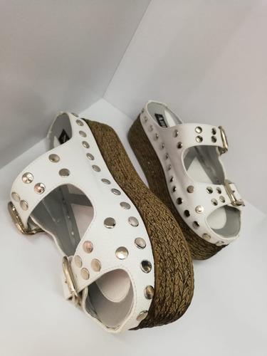 sandalia plataforma alta  dama  blanco taches correa gradual