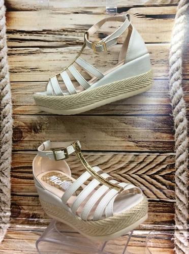 sandalia plataforma baja beis dama mujer fabrica de calzado