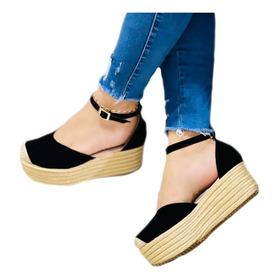Sandalia Plataforma Color Negro Ideal Para Eventos