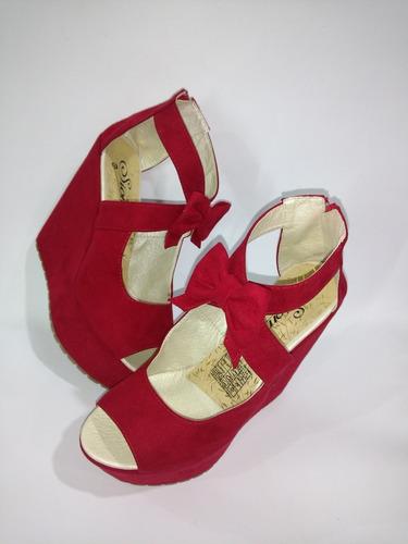 sandalia plataforma corrida roja moda juvenil envío gratis