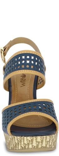 sandália plataforma ramarim azul  anabela meia pata linda