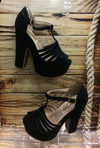 sandalia plataforma tacon negro dama mujer fabrica  calzado