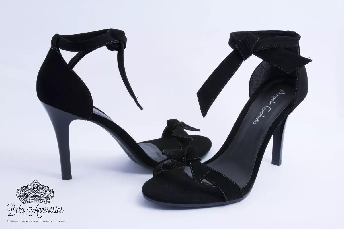 d6e61e911 sandália preta fosca laço tirinha tira salto alto fino verão. Carregando  zoom.