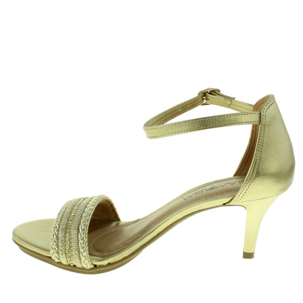 a8847cf47 Sandalia Ramarim 105-44/30p Feminina Dourada Com Salto Baixo - R ...