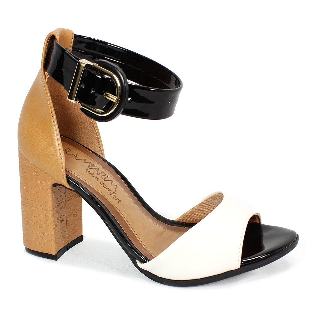 995c527919 sandália ramarim salto grosso marrom e preto feminino. Carregando zoom.