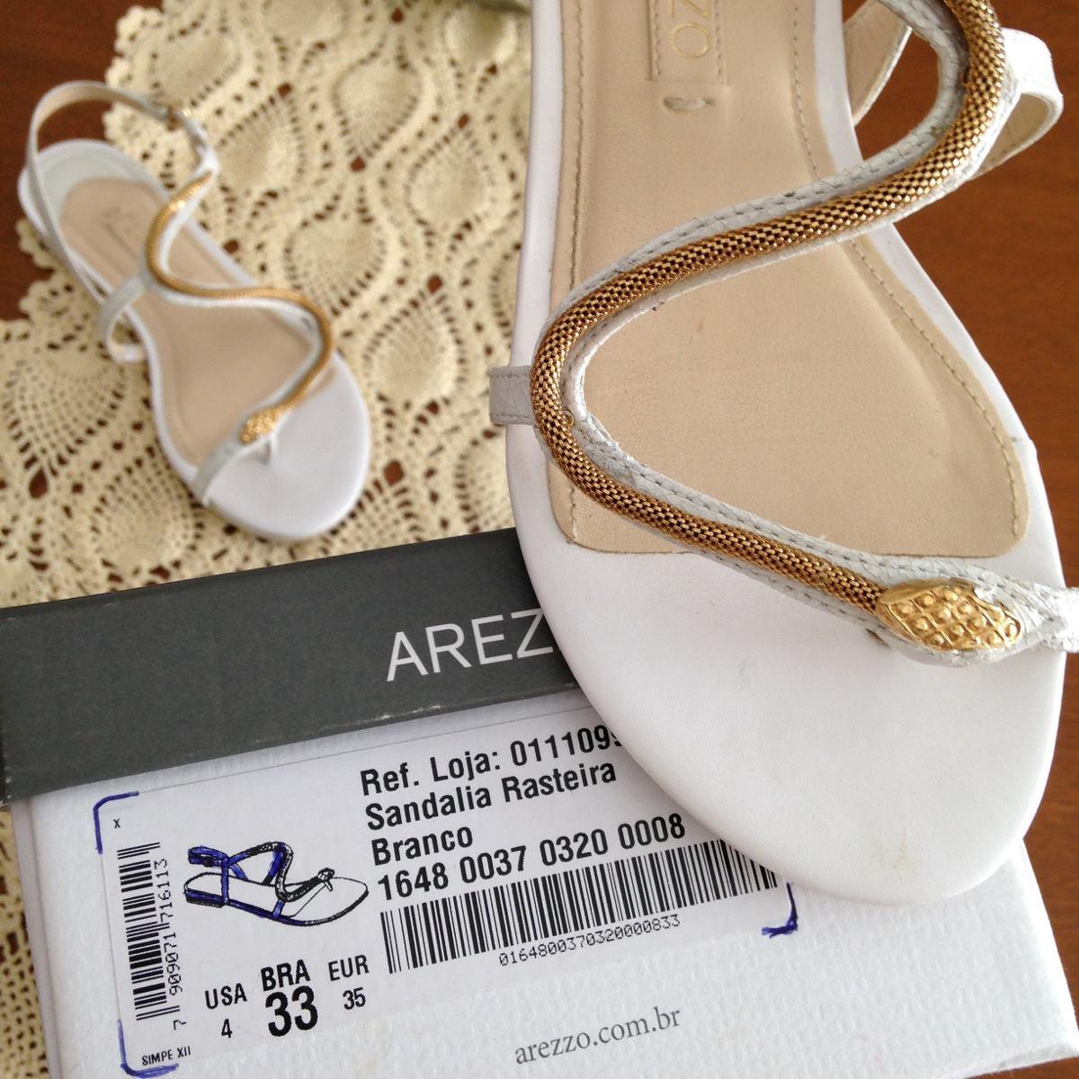 a35e135637 Sandália Rasteira Arezzo Branca Dourada Cobra Rasteirinha 33 - R ...