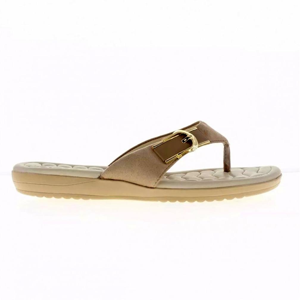 f858bc66f sandália rasteira comfortflex com fivela feminina - nude. Carregando zoom.