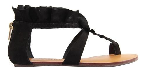 sandália rasteira de dedo c/babado em couro fechada 139740