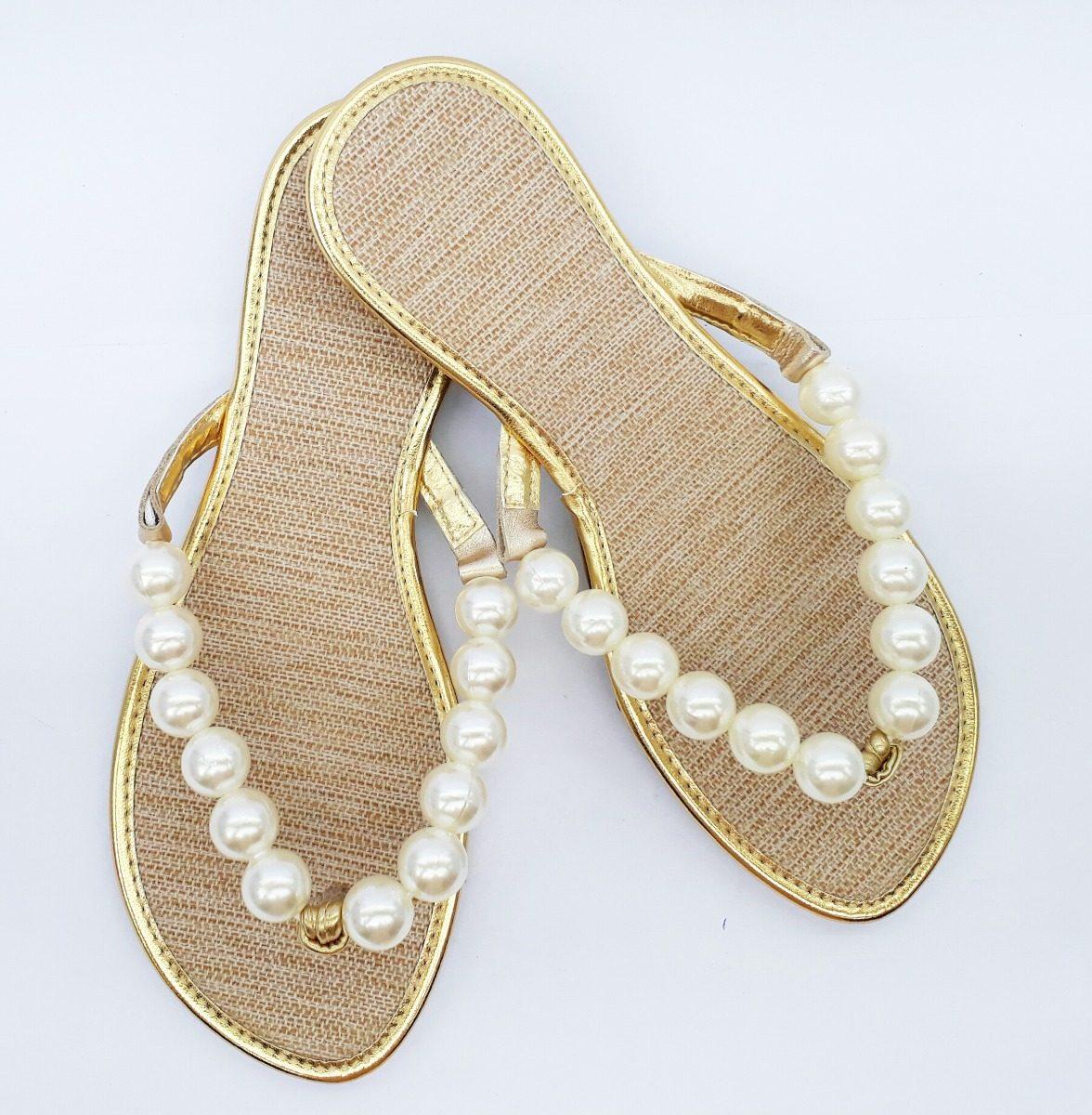 dde4b6283 sandalia rasteira feminina perola rasteirinha sapatilha. Carregando zoom.