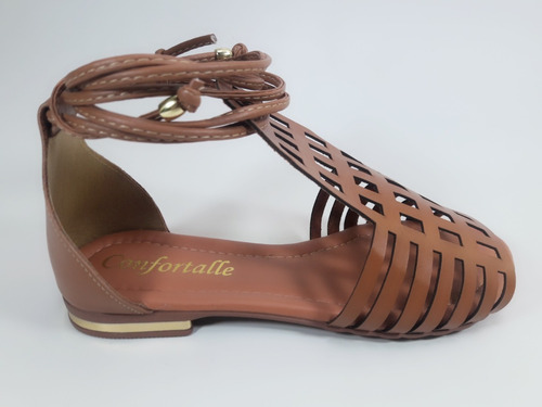 sandália rasteira gladiadora de amarrar cortada laser ref:04