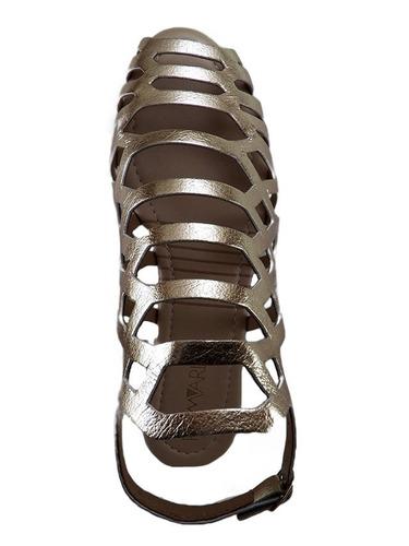 sandália rasteira gladiadora dourada ramarim metal champagne