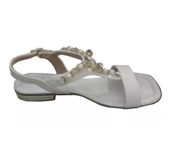 8229ec2af2 Sandália Rasteira Pedraria Piccadilly Elegante Branca - R  149