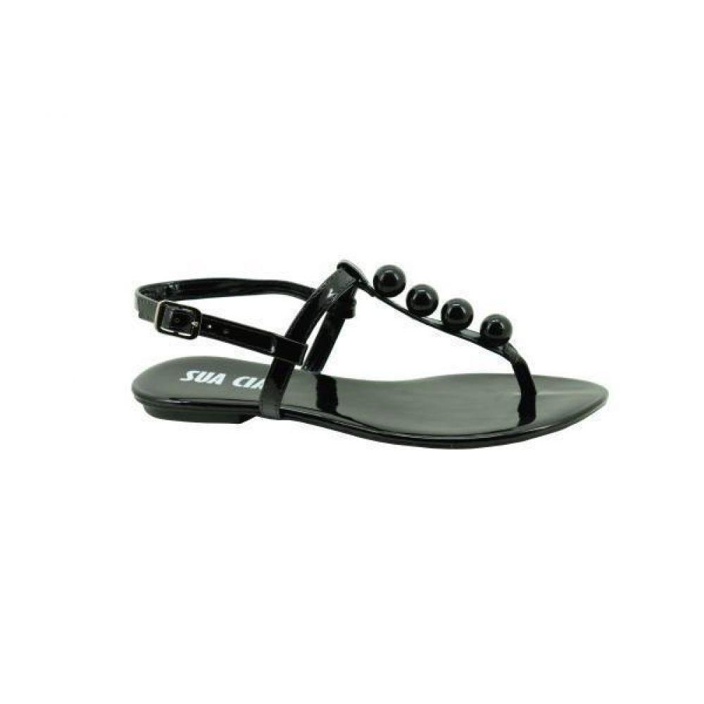 15831cb095 sandália rasteira sua cia verniz preto 8073-11546. Carregando zoom.