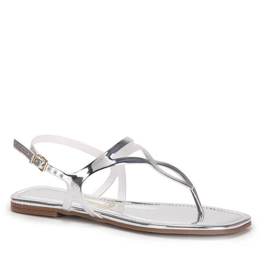 9715e55cee sandália rasteira vizzano metalizada - prata. Carregando zoom.